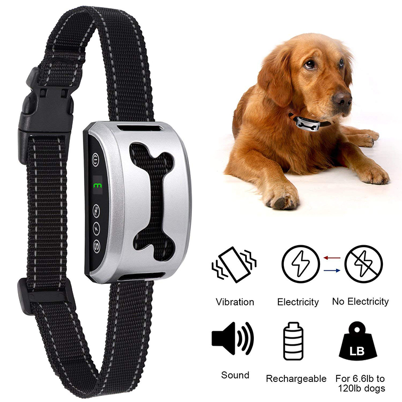 Waterproof Silver Dog Anti Bark Collar Gold Dog Training Collar Rechargeable Shock Electronic Anti Barking Collars For DogsWaterproof Silver Dog Anti Bark Collar Gold Dog Training Collar Rechargeable Shock Electronic Anti Barking Collars For Dogs