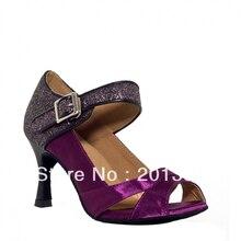 Women Purple Satin Glitter LATIN Dancing Shoes Ballroom Salsa Tango Dance Shoes Line Dance Shoes Wedding Shoes