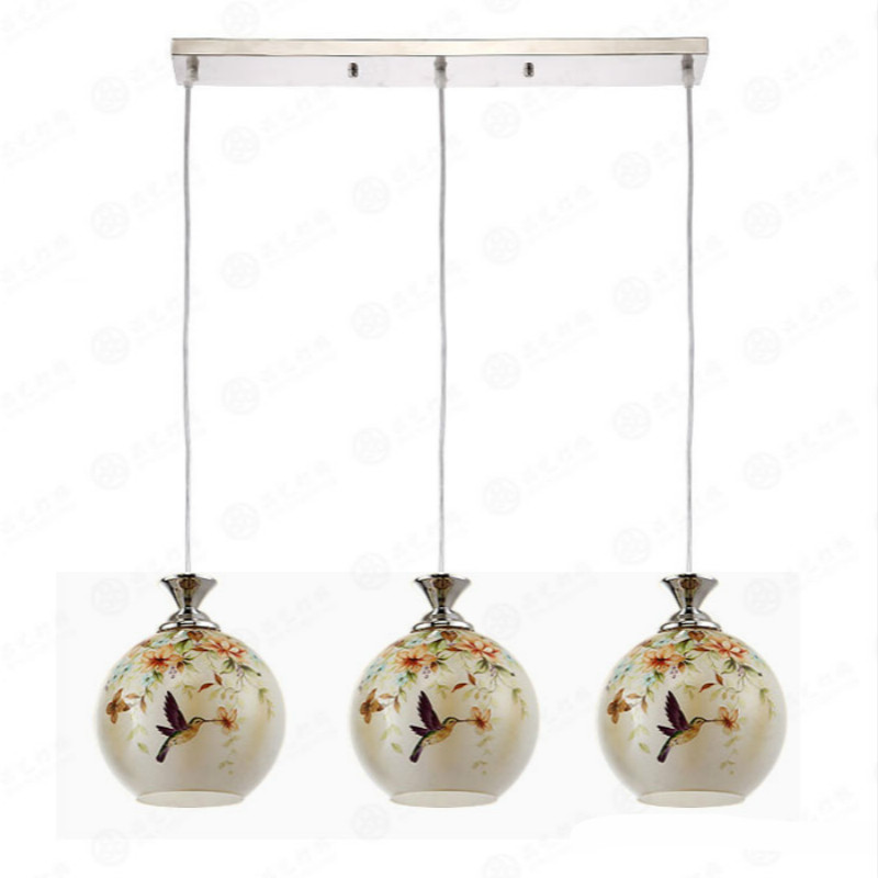 Vintage Classical Rural European Hand Painted Birds Glass Led E27 Pendant Light For Dining Room Bar Deco 80-265v 1/3 Heads 2049 european retro coloured drawing rose glass pendant lights classical rural e27 led lamps for parlor