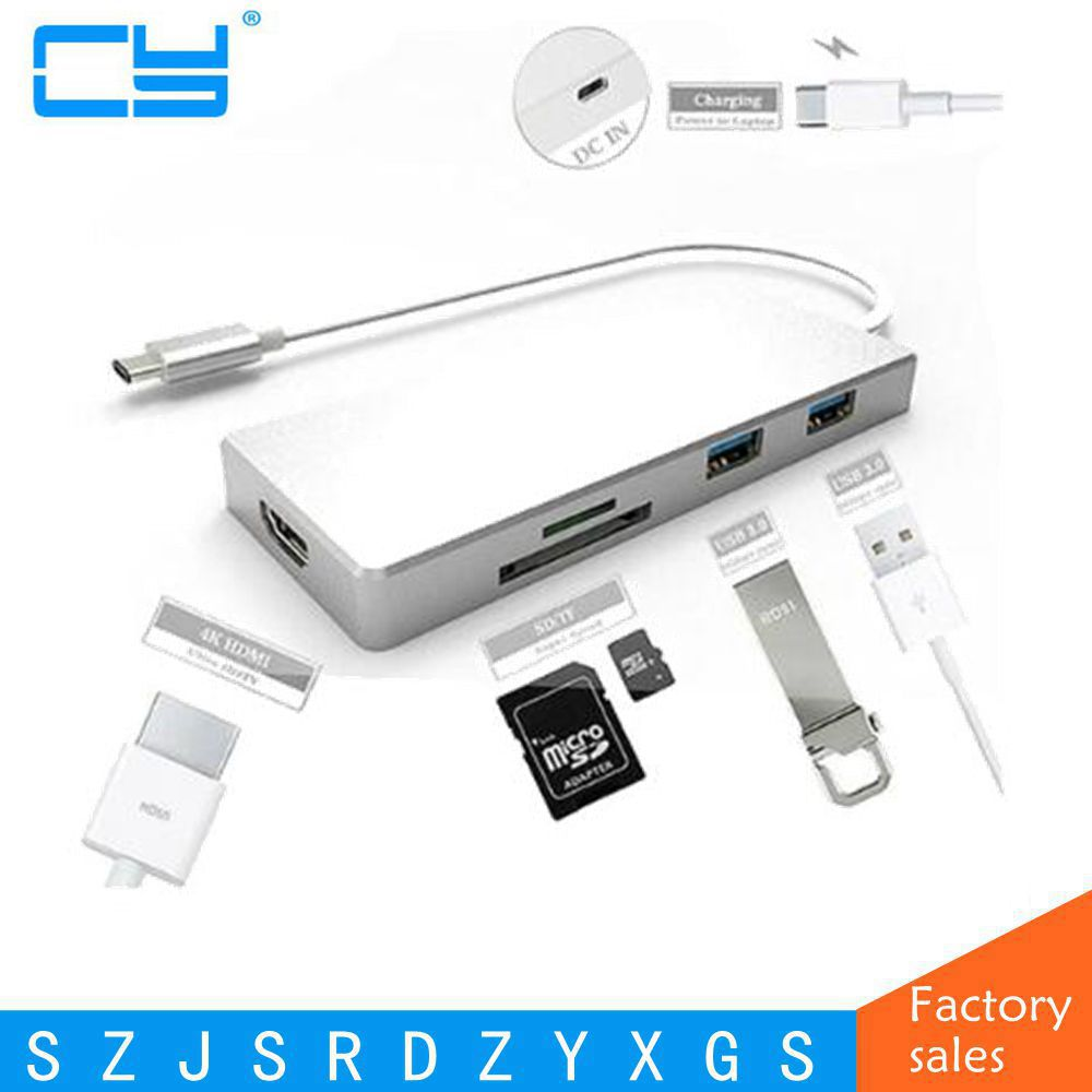 4K x 2K USB 3.1 Type C to HDMI & 3 Ports USB 3.0 Hub & TF SD Card Reader For Macbook Pro PC Laptop USB C Cable Adapter