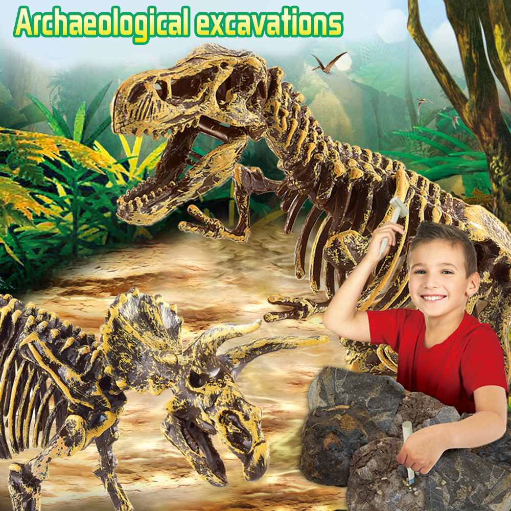 Dinosaur Toys Science Educational Dig Kit, Dinosaur Fossil Excavation Kits  Birthday Gift Toys For Children  CC3