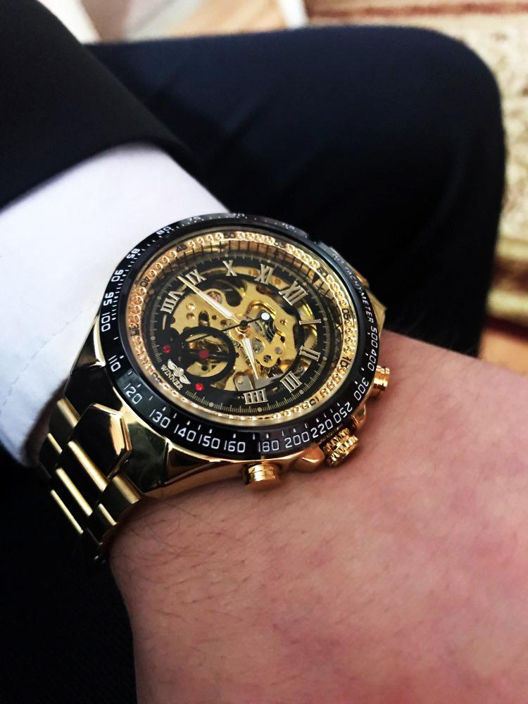 1Montre Homme horloge automatique squelette