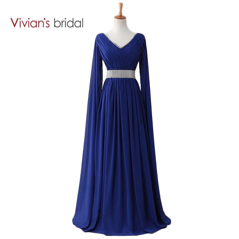Vivians Bridal Royal Blue Muslim Evening Dresses Evening Gown V Nck Long Sleeves Chiffon Beading Waist Evening Dresses