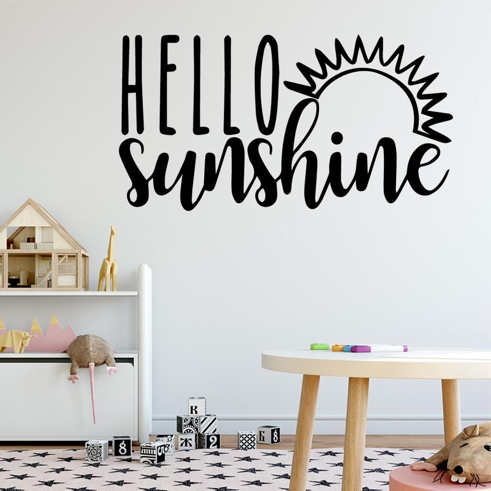 Beauty Hello  Sunsine Vinyl Waterproof Wall Art Decal For Kids Room Living Home Decor Decoration Accessories Murals