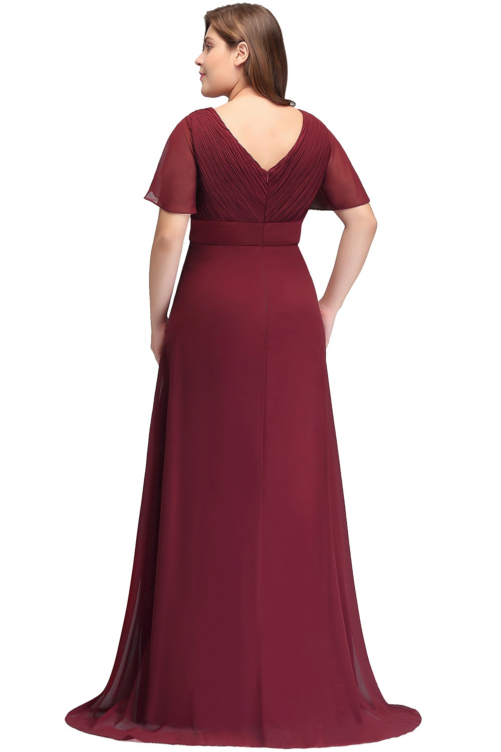 2019 Burgundy Navy Blue Chiffon Mermaid Long Bridesmaid Dresses Plus Size  Short Sleeve Wedding Party Guest Dress