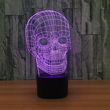 Creative Skull Lights with Bluetooth Speaker  LED Lamps 7 Color Changing Illusion Desktop Lamps