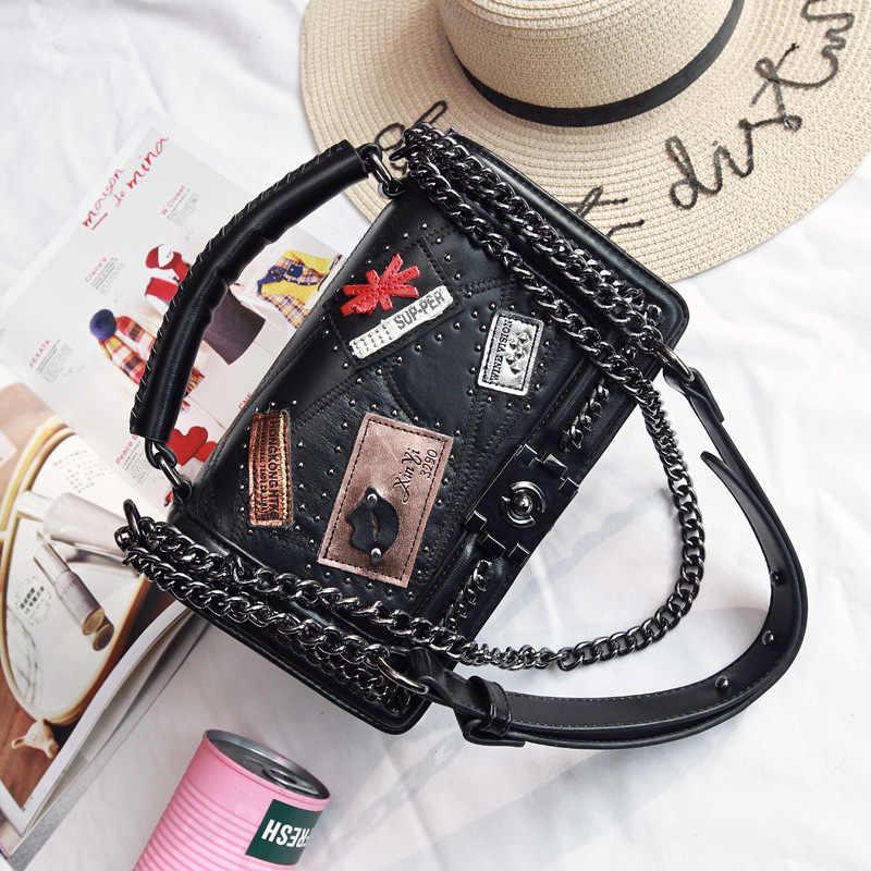 2019 Fashion Female Bag Handbags Quality PU Leather Women Bag British Retro Badge Square Rivet Shoulder Messenger Bag