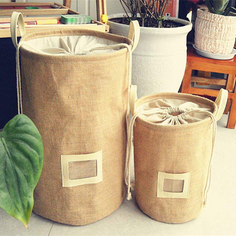 Storage Basket Natural Jute Dirty Cloth Collect Bag Laundry Bag Basket Cloth Storage Folding Organizer Waterproof Storage Box