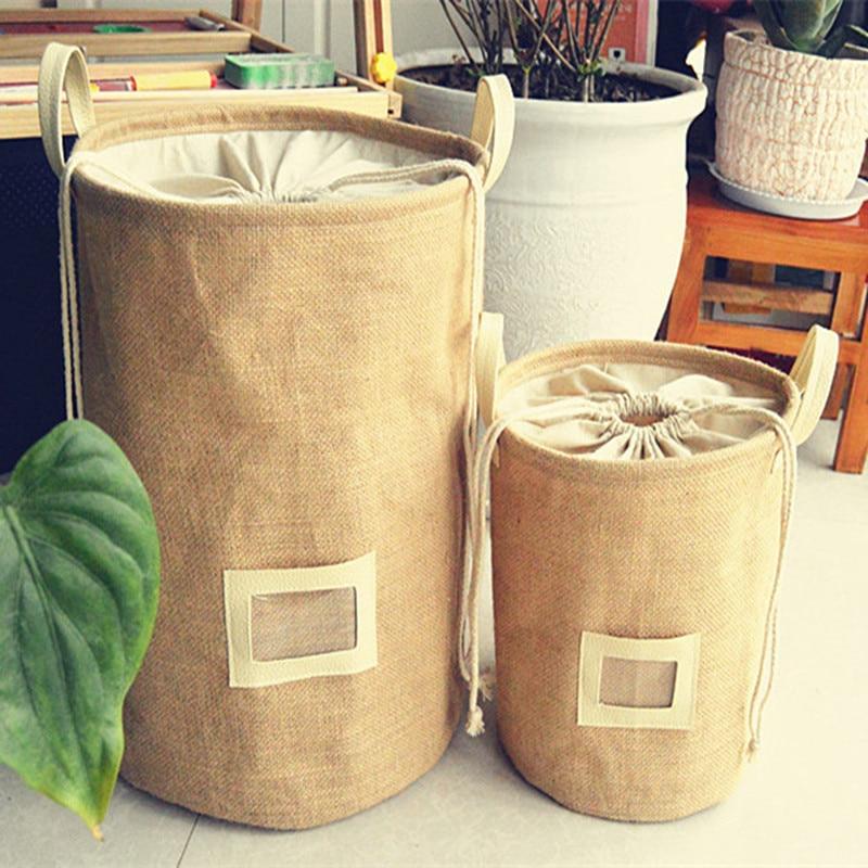 Storage Basket Natural Jute Dirty Cloth Collect Bag Laundry Bag Basket Cloth Storage Folding Organizer Waterproof Storage Box