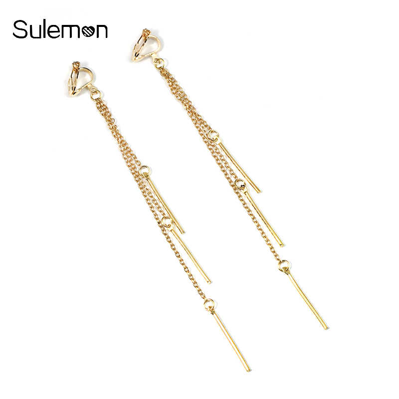 Metal Tassels Earrings No Hole Ear Clips Simple Style Tassel Clip On Earrings Non Pierced Women Long Earring Jewelry CE171
