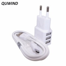 QUWIND EU Plug 2 in 1 2A 3 USB Wall Charger And Micro Usb Cable For Android phone Tablet PC(White)