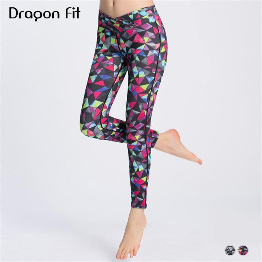 Dragon Fit Geometric Printing Elastic Sport Leggings Women Compression Breathable Yoga Pants Running Yoga Leggings Female