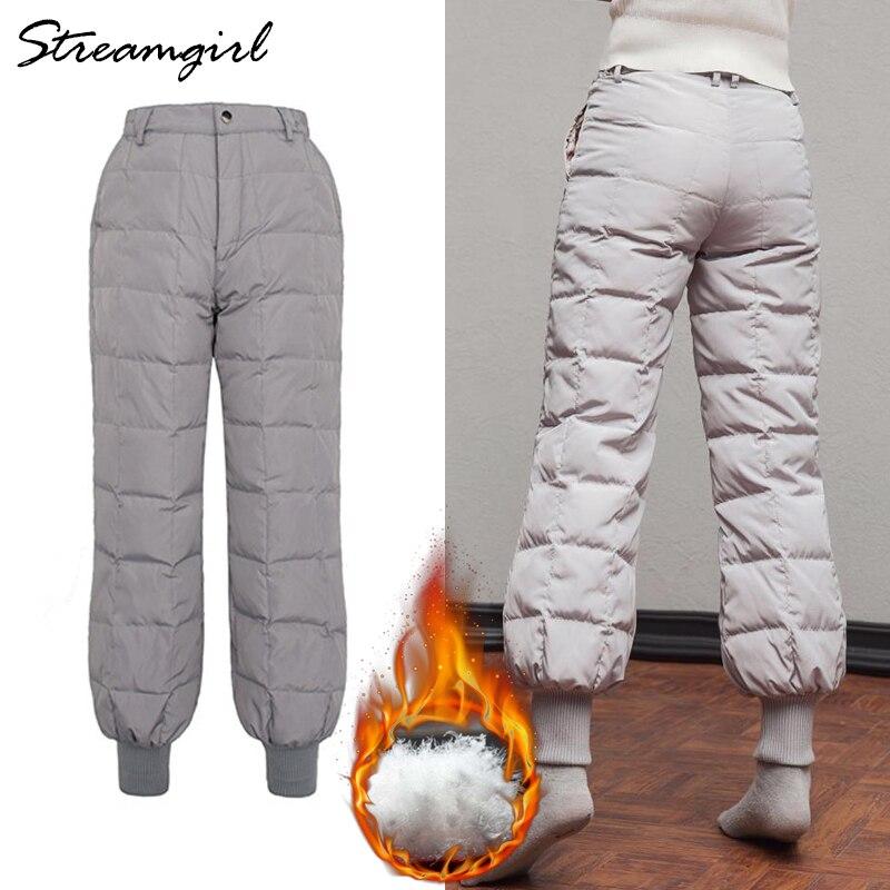 Femmes épais bas pantalon femme noir taille haute chaud femmes hiver vers le bas plume pantalon grande taille pantalon décontracté femmes 2018 pantalon