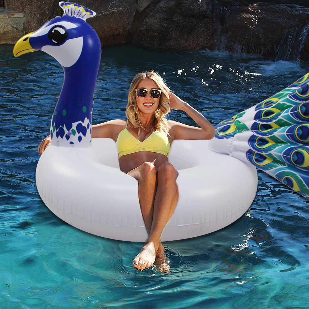 156cm Giant Peacock Inflatable Tube Swimming Ring 2019 Newest Pool Float For Adult Children Water Party Toys Air Mattress Lounge