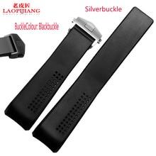 Laopijiang 22 mm nuevos hombres alta calidad Depolyment plata hebilla extremo curvo negro buceo bandas caucho de silicón correas