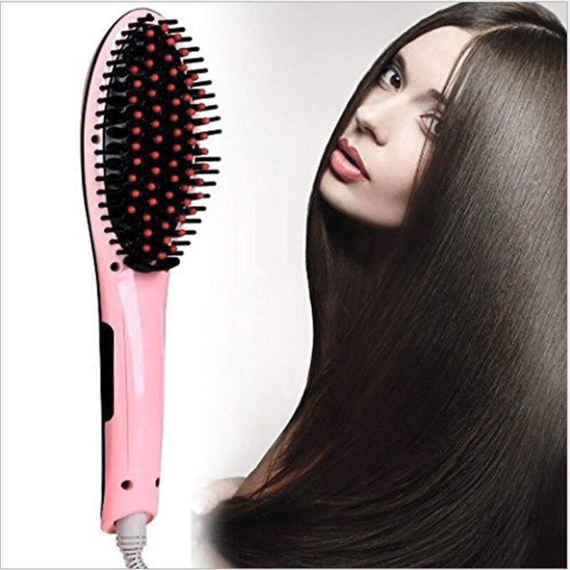 10PCS  Lcd Display Hair Brush Fast Hair Straightener Comb Hair Electric Brush Comb Irons Auto Straight Hair Comb BrushMassage
