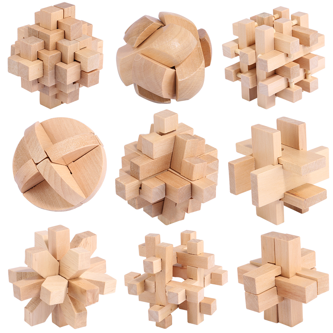 9pcs Delicate Natural Wooden Kong Ming Lock Set Puzzle Interesting IQ Mind Brain Teaser Puzzles Game