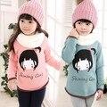 2015Korean winter sweatshirts girls thickening kids hoodies children primer shirt Cotton Cashmere Wool pullover  baby