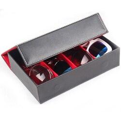 4 Grid organizer do okularów przenośne okulary akcesoria do przechowywania jakości PU skórzane zegarki z biżuterią kosztowności do prezentowania  przechowywania biżuterii  zegarków