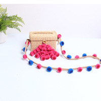 Woven rattanSummer Beach Bags Colorful Pompom Straw Bag HairBall Mini Box Bag Tasselled Women Handmade Handbags Vintage Clutch