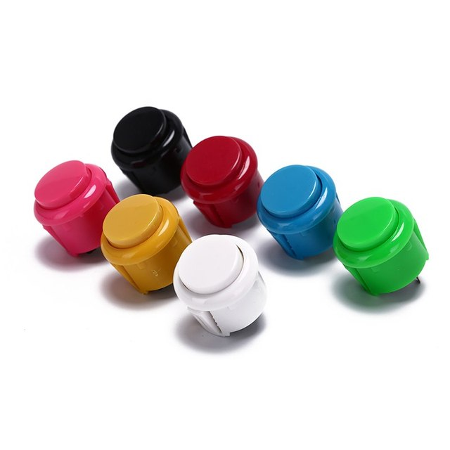 10 pièces intégré petit Micro interrupteur pour bricolage Arcade contrôleur Jamma Mame 24mm prix usine Arcade bouton rond bouton poussoir