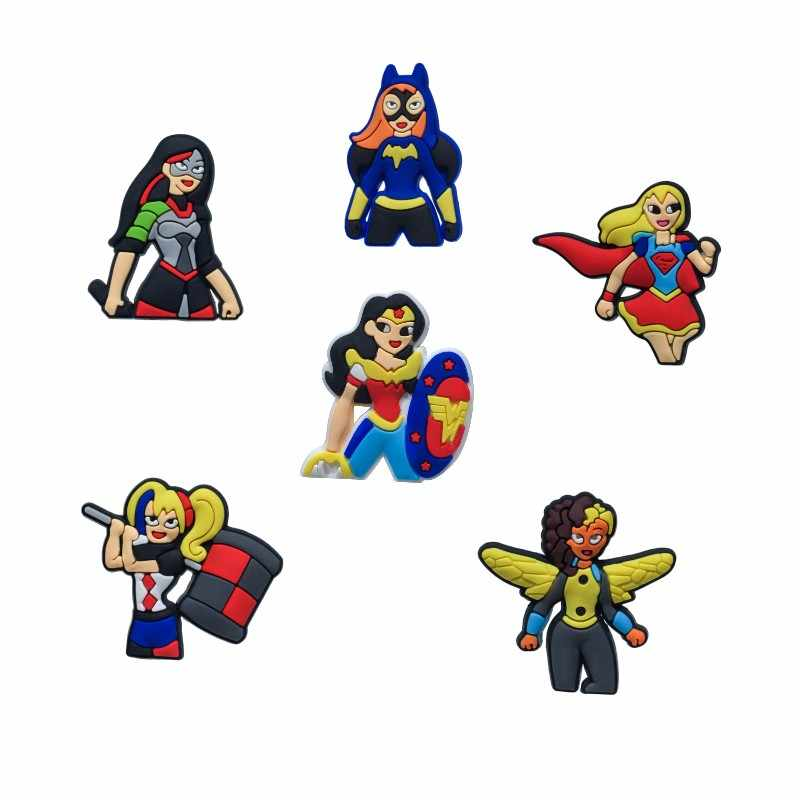 buy online 82725 eca4f Single Sale 1pcs DC Super Hero Girls Shoe Charms PVC Shoes Accessories  Decoration Ornaments Small Party Gift Shoe Buckles