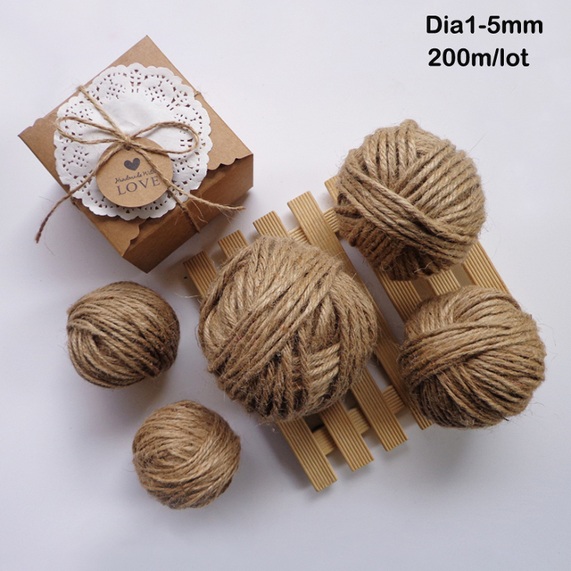 598dfe86caa1 US $6.63 15% OFF|200m/Roll Natural Hemp Rope DIY Tag Label Hang Rope  Wedding Home Woven Decorative Twine Jute String Gardening Cord  Dia.1,2,3,4mm-in ...