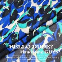 LEO & LIN Wit zwart, blauw, groen 100% zijde chiffon sjaal lente en zomer jurk stof Baotou (1 meter)