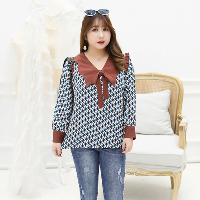 Mode motif géométrique chemise femmes col claudine été printemps manches longues blouses plu taille 4xl couleur contrastée 2019 nouveau
