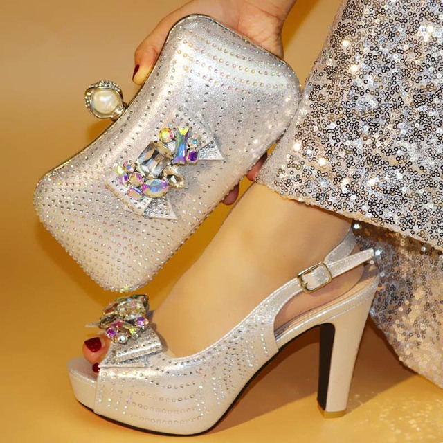 Most popular silver women pumps match handbag set with big crystal bowtie design african shoes and bag for party dress V1719-8