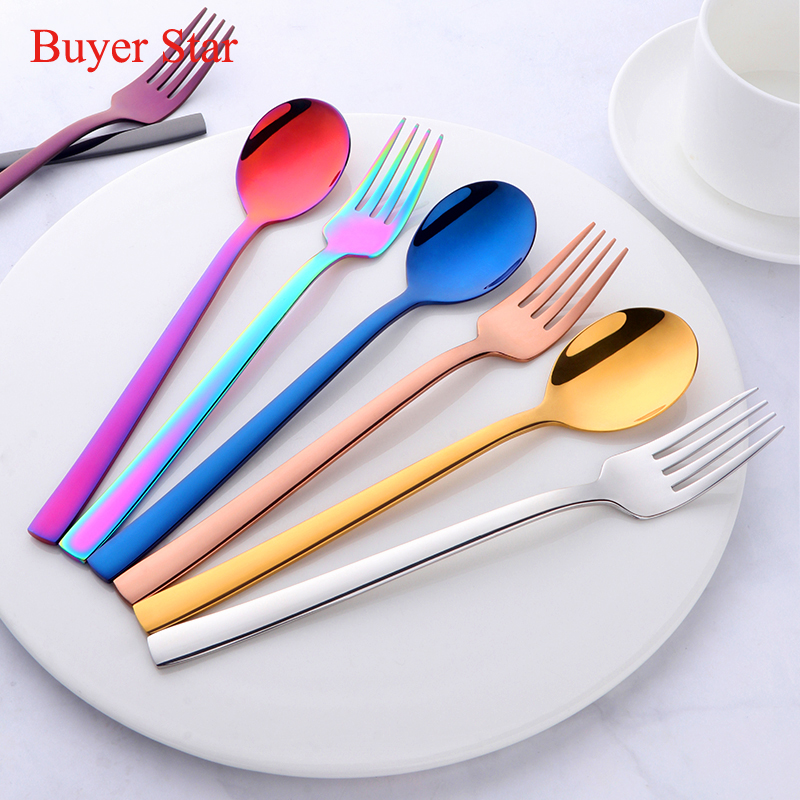 6 Sets colorful student Dinnerware Set gold Spoon Fork Food grade 304 Stainless Steel Children Tableware Dining Set