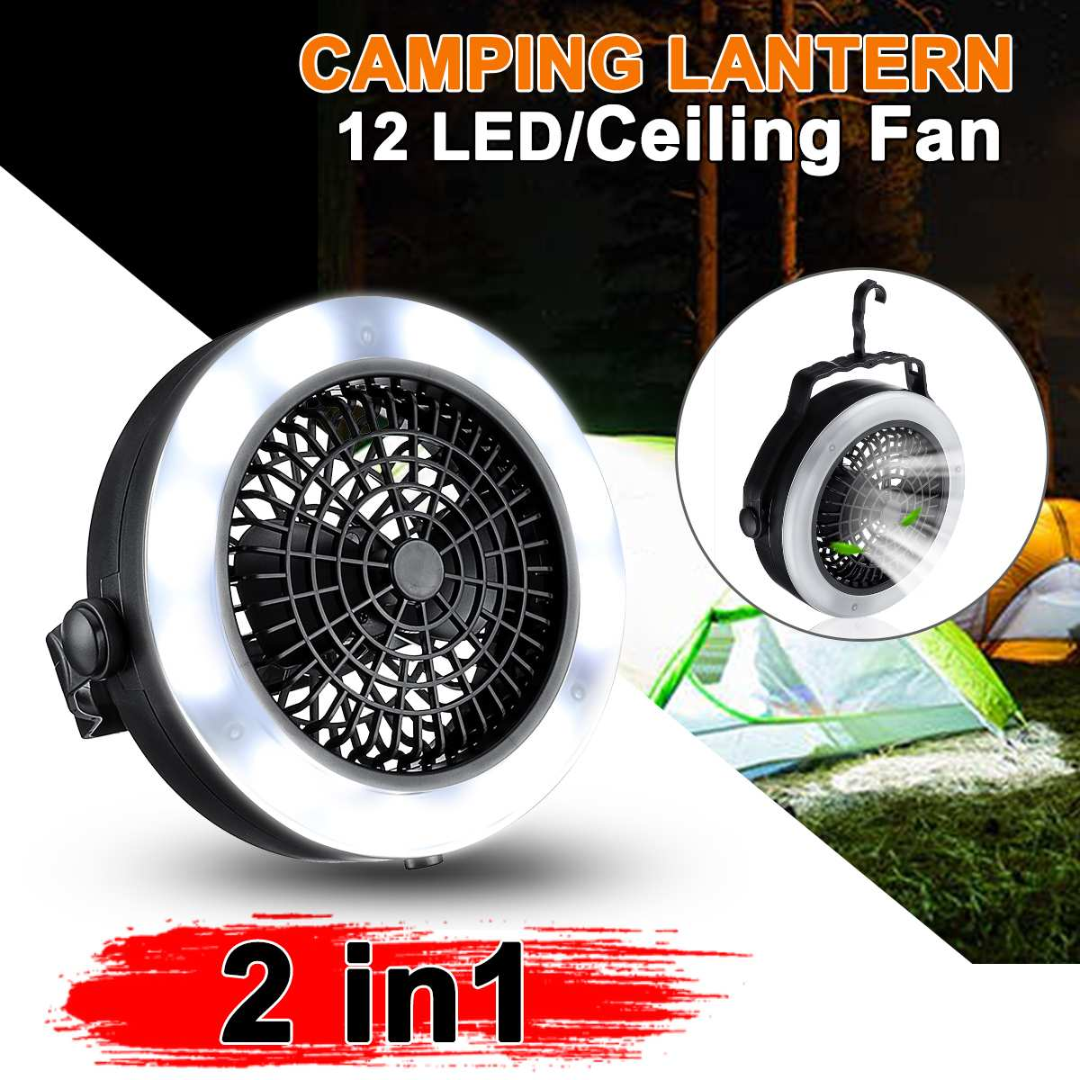 <font><b>2</b></font> in <font><b>1</b></font> Portable Battery Operated <font><b>12</b></font> LED Fan Light Mini Air Cooler Outdoor Camping Tent Lamp Hanging Hook Lantern Battery image