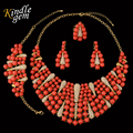 Big Nigerian Wedding African Beads Jewelry Set Exquisite Dubai Gold Plated Costume Design Luxury Filled Red Beads Necklace