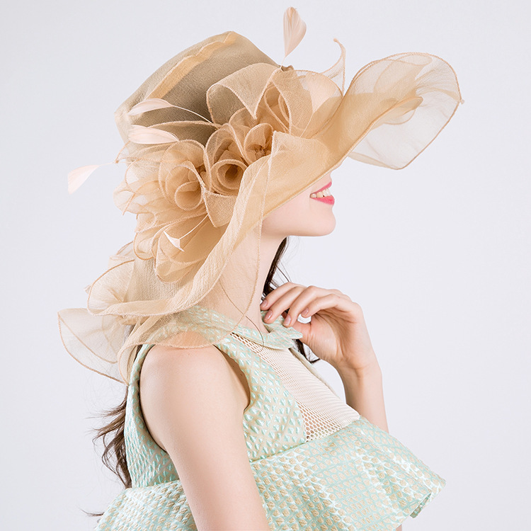 Women Organza Big Flower Feather Hat Wedding Party Cap For Lady Kentucky Derby Hat Female Summer Wide Birm Sun Chapeau Feminino