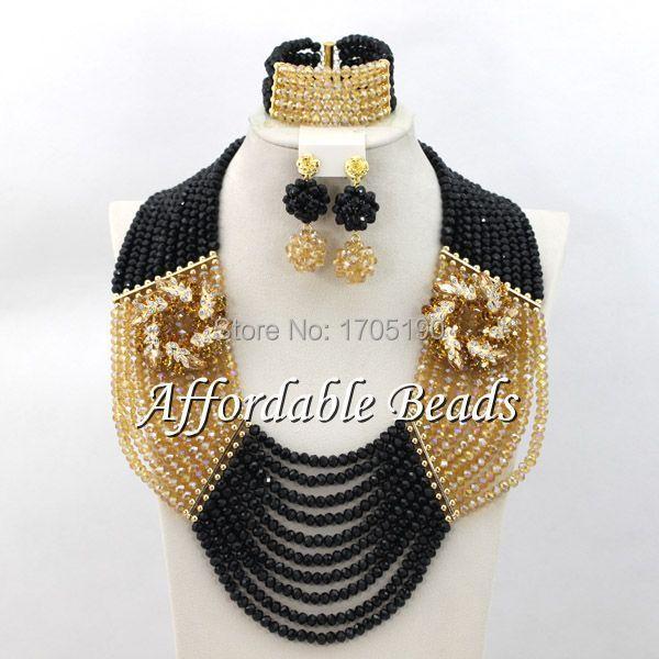 Black&Champagne African Wedding Beads Pretty Fashion Jewelry Beads Set Free Shipping ABW074Black&Champagne African Wedding Beads Pretty Fashion Jewelry Beads Set Free Shipping ABW074