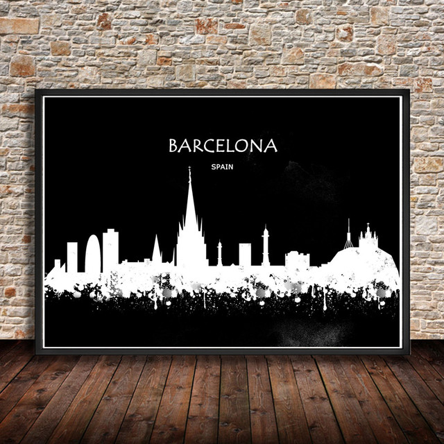 Barcelona spain watercolor abstract painting city building print poster wall sticker home decor living room bar