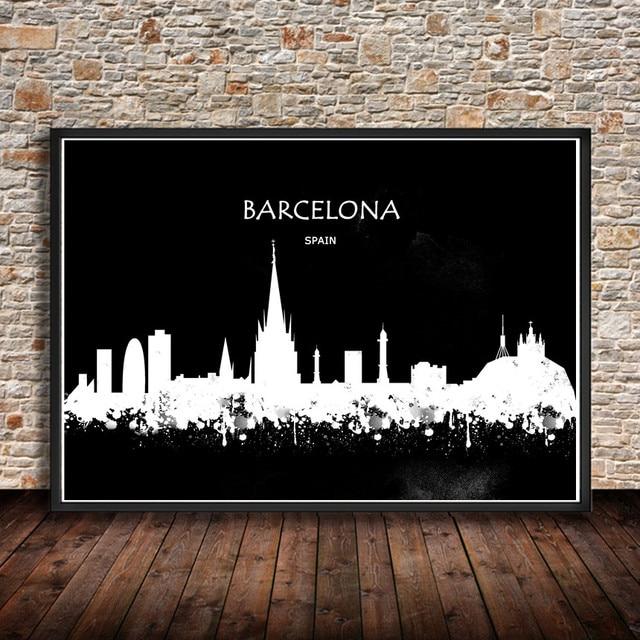 BARCELONA Spanien Aquarell Abstrakten Malerei City Building Print Poster Wandaufkleber Wohnkultur Wohnzimmer Bar Cafe 42x30 Cm