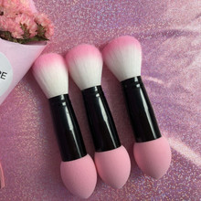 Brand New 1pc Professional blusher brush Nylon Make up Brushes Two Head Metal Cosmetic Tools with Sponge 0704