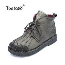 Tastabo Handmade Stiefeletten Martin Flache Stiefel 100% Echte Echtem Leder Schuhe Retro Winter Schnee Stiefel Botines Mujer Frauen Schuh
