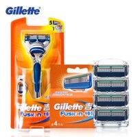 Натуральная Gilette Fusion бритвенные лезвия для мужчин 1 держатель + 5 бит брендовая Бритва мужская бритвенная уход за лицом