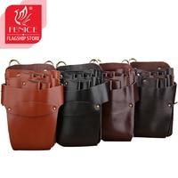 Salon Hair Scissors Bag Leather Tool Bags 4 Colors 5 Scissor Holster Pouch Holder Case with Waist Shoulder Belt Barber Use