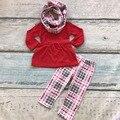 V-dia das meninas do bebê crianças conjuntos de cachecol vermelho \ asteca pant algodão boutique Hot venda roupa dos miúdos top xadrez conjuntos