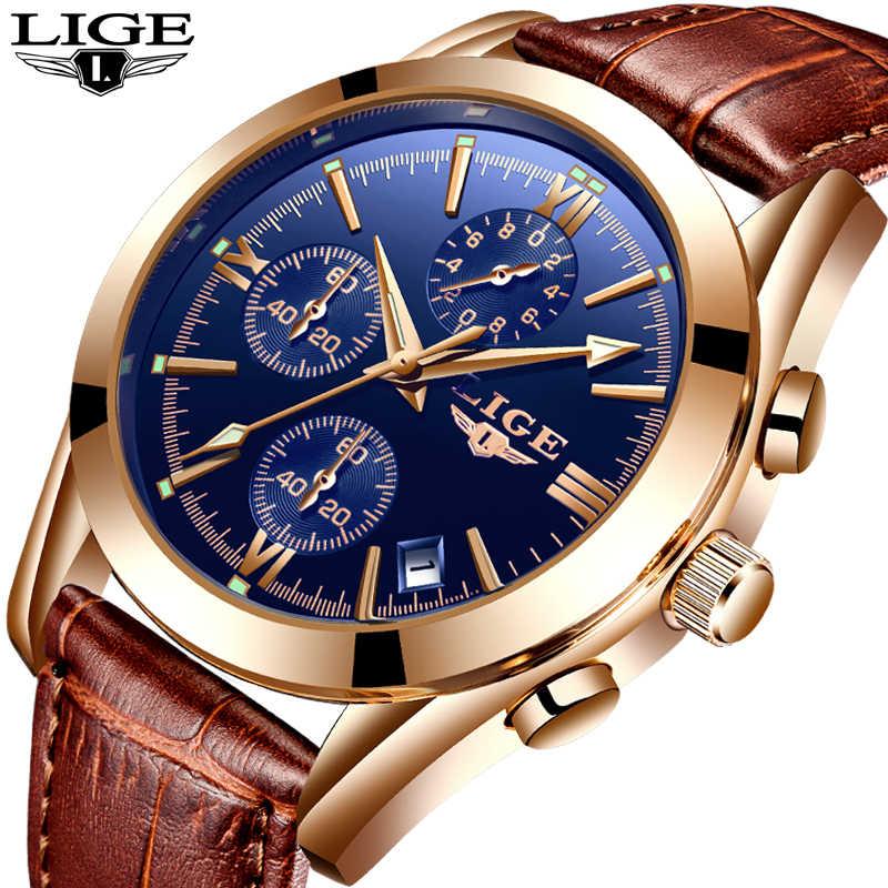 Reloj LIGE para hombre, reloj deportivo de cuarzo, reloj de cuero a la moda, relojes para hombre, reloj de negocios a prueba de agua de marca superior