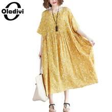 2e9c1450dfd2fa Oladivi Marque grande taille vêtement pour femme Mode Imprimer Coton robe  de lin Dames Lâche décontracté Robes D'été Longues Tun.