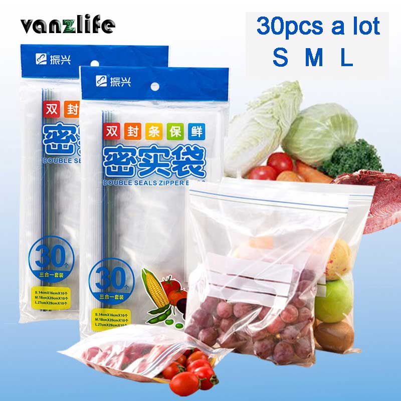 30pcs/vanzlife Kitchen refrigerator food fresh bag for meat, fish, fruit freezer storage bags ,clothing Underwear sock bag