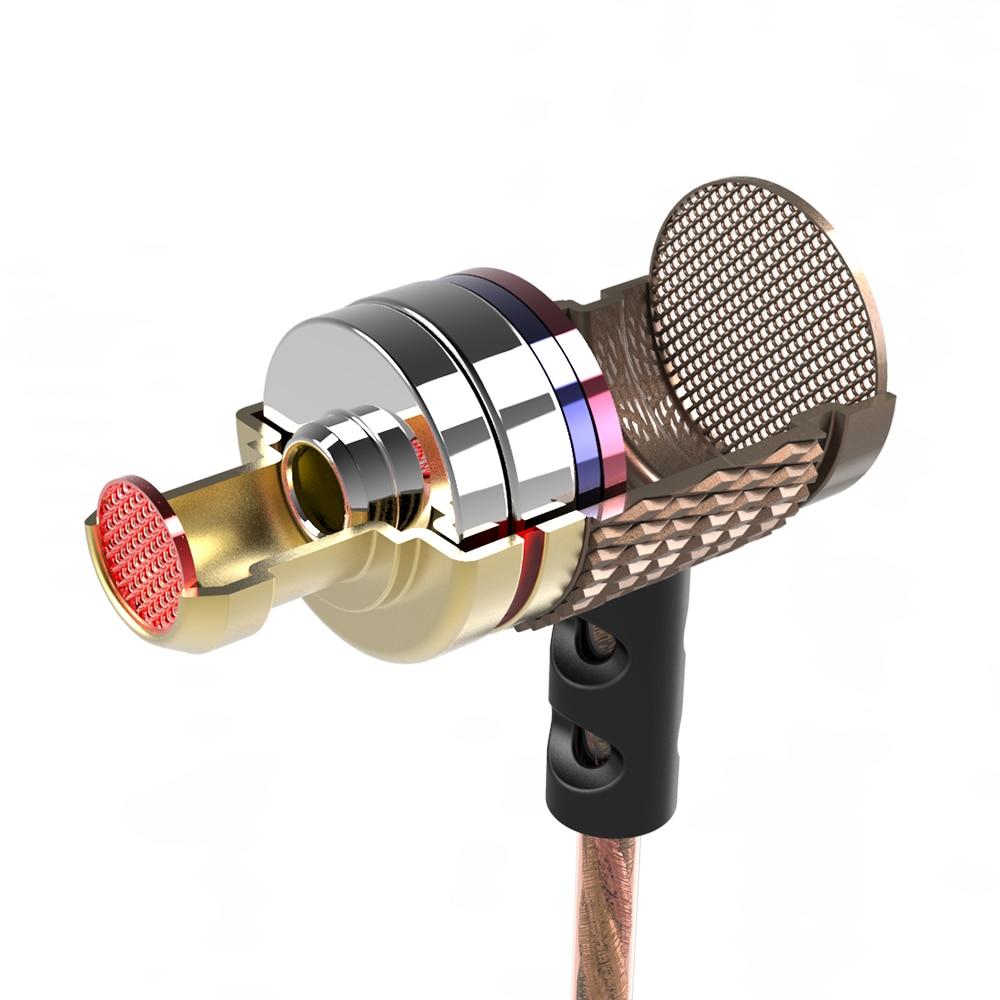 KZ ED2 Stéréo Métal Écouteurs avec Microphone Antibruit Écouteurs Dans L'oreille Casque DJ XBS BASS Écouteurs HiFi Oreille Téléphones