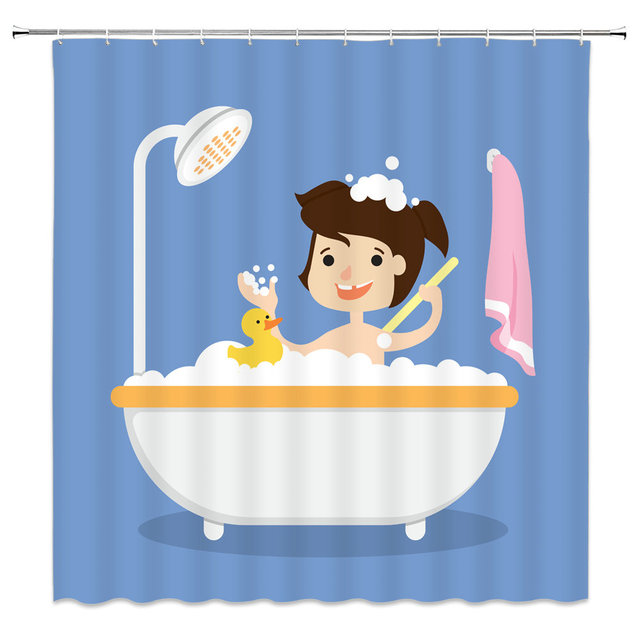 Shower Curtains That Won T Mildew.Watercolor Anime Cute Little Girl In The Bath With Duckling