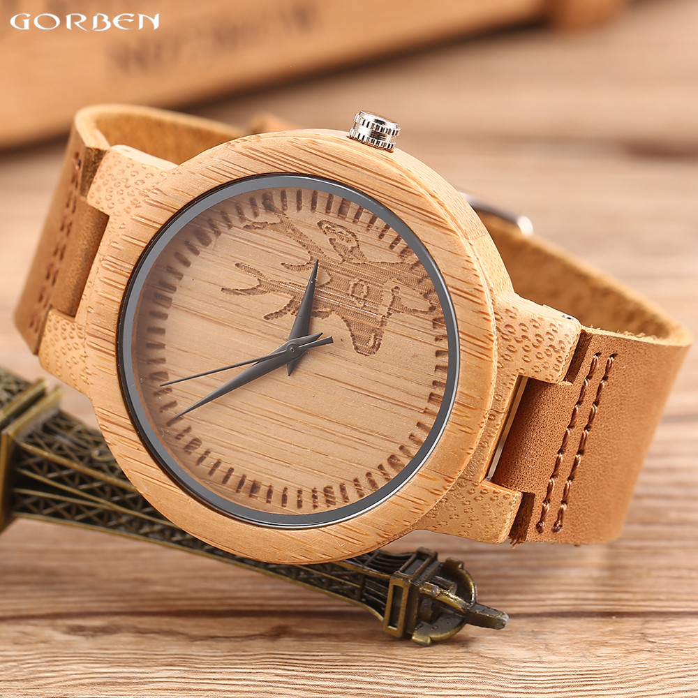 Casual Deer Head Wood Watch For Men and Women Natural Bamboo Case Leather Band Wooden Watches Male Quartz Wristwatch for Gift simple watches men leather fashion male casual wooden women quartz watch natural handmade bamboo wristwatches clock 2017 analog