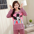 New Autumn Winter 100 % High Quality Hello Kitty Cat Full Cute Pyjamas Pajamas For Women Home Clohtes With 2 Piece Sets