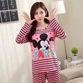 Nuevo otoño invierno 100% de alta calidad de hello kitty cat completo Pijamas lindos Pijamas De la Mujer Home Clohtes Con 2 Unidades Conjuntos